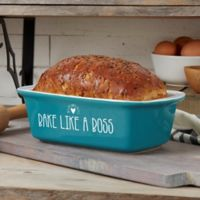 Made With Love 1.5 qt. Stoneware Loaf Pan in Blue