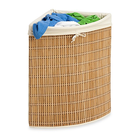 Buy honey can do wicker corner hamper from bed bath beyond - Rattan clothes hamper ...