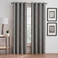 Isolde Leaf Embroidery 95-Inch Grommet Window Curtain Panel in Silver