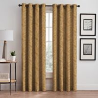 Isolde Leaf Embroidery 108-Inch Grommet Window Curtain Panel in Gold