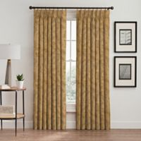 Isolde Leaf Embroidery 108-Inch Pinch Pleat Window Curtain Panel in Gold