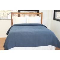 Belle Epoque Solid Relaxed Rows Full/Queen Coverlet in Navy