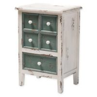 Baxton Studio Orrell 5-Drawer Chest in Distressed White/Teal