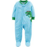 carter's® Size 12M Dinosaur Footed Pajamas in Light Blue