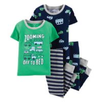 carter's® Size 9M 4-Piece Cars Snug-Fit Cotton Pajama Set in Green/Navy