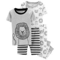 carter's® Size 2T 4-Piece Lion Snug-Fit Cotton Pajama Set in Heather Grey