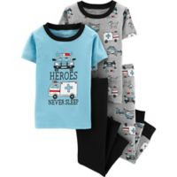 carter's® Size 4T 4-Piece Rescue Vehicles Snug-Fit Cotton Pajama Set in Blue/Grey