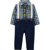 carter's® Size 3M 3-Piece Plaid Shirt, Twill Pant, and Suspender Set in Navy