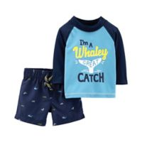 """carter's® Size 24M 2-Piece """"Whaley Great Catch"""" Swim Shirt and Short in Blue"""