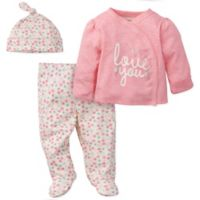 Gerber® Preemie 3-Piece Love You Organic Cotton Top, Footed Pant and Cap Set in Coral
