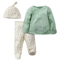 Gerber® Preemie 3-Piece Little Explorer Organic Cotton Shirt, Cap, and Footed Pant