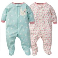 Gerber® Size 6M 2-Pack Bunny Floral Organic Cotton Sleep N' Play Footies in Coral