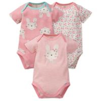Gerber® Newborn 3-Pack Bunny Floral Organic Cotton Bodysuits in Coral