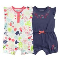Mac & Moon Size 9M 2-Pack Floral Multicolor Short Sleeve Rompers