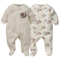 Gerber® Newborn 2-Piece Sleep & Play Squirrel Footies in Brown/White