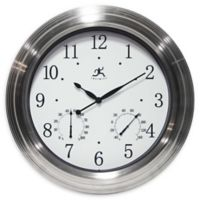 Infinity Instruments 19-Inch Churchill Indoor/Outdoor Wall Clock in White/Silver