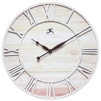 Infinity Instruments 28-Inch Farmhouse Fusion Wall Clock in White