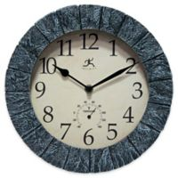 Infinity Instruments 11-Inch Stone Outdoor Wall Clock in Grey