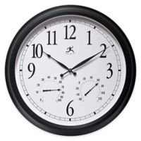 Infinity Instruments 24-Inch Classic Outdoor Clock in White/Black