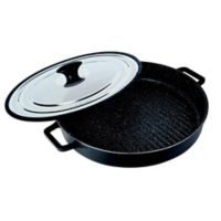 MasterPan 12-Inch Cast Aluminum Covered Stovetop Oven Grill Pan in Black