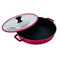 MasterPan 12-Inch Cast Aluminum Covered Stovetop Oven Grill Pan in Red
