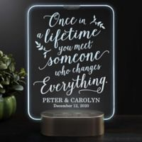 Once In A Lifetime Personalized Wedding Light Up LED Glass Keepsake