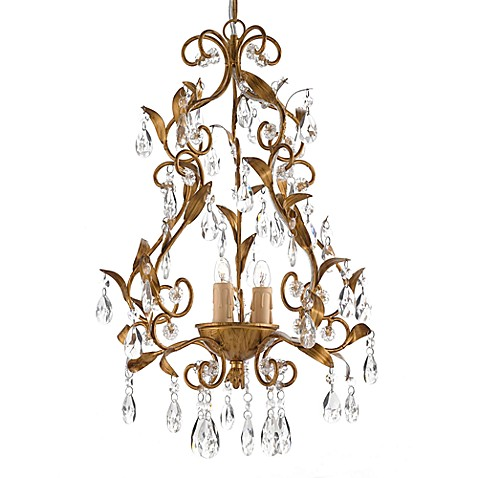 Gallery 3-Light Wrought Iron and Crystal Chandelier