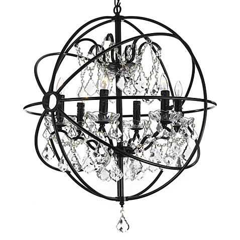 Gallery 6 Light Wrought Iron Crystal Orb Chandelier Bed