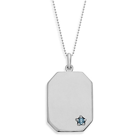 emma&me® Sterling Silver and Blue Topaz Dog Tag Pendant