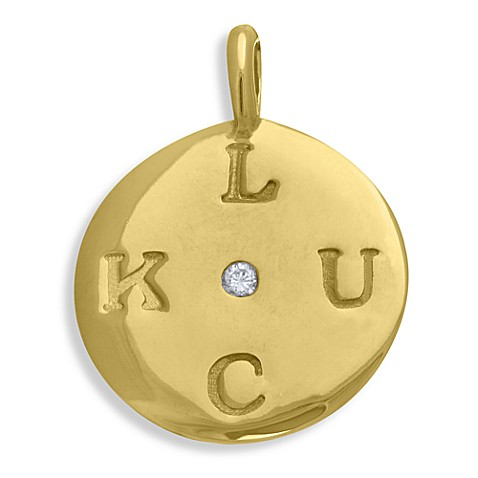emma&me® Gold Plated Sterling Silver LUCK Mini Disc Charm w/Chain
