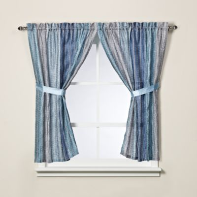 Lovely Sierra Blue Bathroom Window Curtain Panel Pair