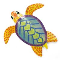 Turtle Small Blue 13-Inch x 12-Inch Metal Wall Sculpture