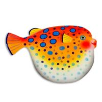 T.I. Design Puffer Fish 13-Inch x 17.5-Inch Multicolor Metal Wall Art