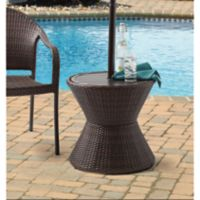 Barrington Wicker Side Table with Umbrella Hole in Brown