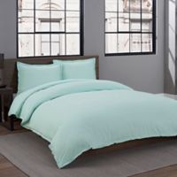 Garment Washed Solid Full/Queen Duvet Cover Set in Mint