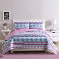 Chloe Reversible Twin Quilt Set in Purple/Pink