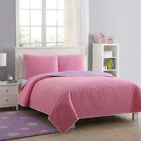 Tess Reversible Full Quilt Set in Pink/Purple