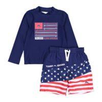 Tommy Bahama® Size 4T 2-Piece Americana Rashguard Set in Navy