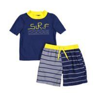 Kiko & Max Size 3T 2-Piece Surf Rashguard and Swim Trunk Set in Navy