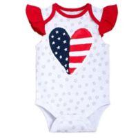 babyGEAR™ Size 6M Heart Flag Flutter Sleeve Bodysuit in Red/Blue