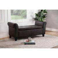 Abbyson Living® Easton Storage Ottoman Bench in Dark Brown