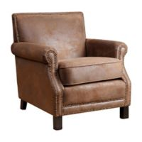 Abbyson Living Chloe Arm Chair in Antique Brown Faux Leather