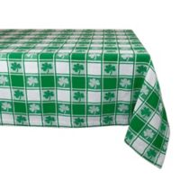 Design Imports Shamrock Woven Check 52-Inch Square Tablecloth in Green