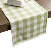 Design Imports Heavyweight Fringed Check 108-Inch Table Runner in Bright Green
