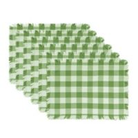 Design Imports Heavyweight Fringed Check Placemats in Bright Green (Set of 6)