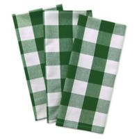 Design Imports 3-Pack Shamrock Buffalo Check Kitchen Towels in Green
