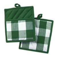 Design Imports 2-Pack Shamrock Buffalo Check Potholders in Green