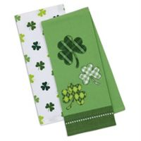Design Imports 2-Pack Lucky Day Dish Towels in Green