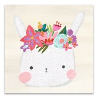 Artissimo Designs Bunny with Wreath Multicolor Canvas Wall Art