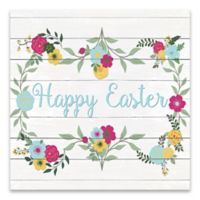 """Happy Easter"" Floral 14-Inch Square Wood Wall Art in White"